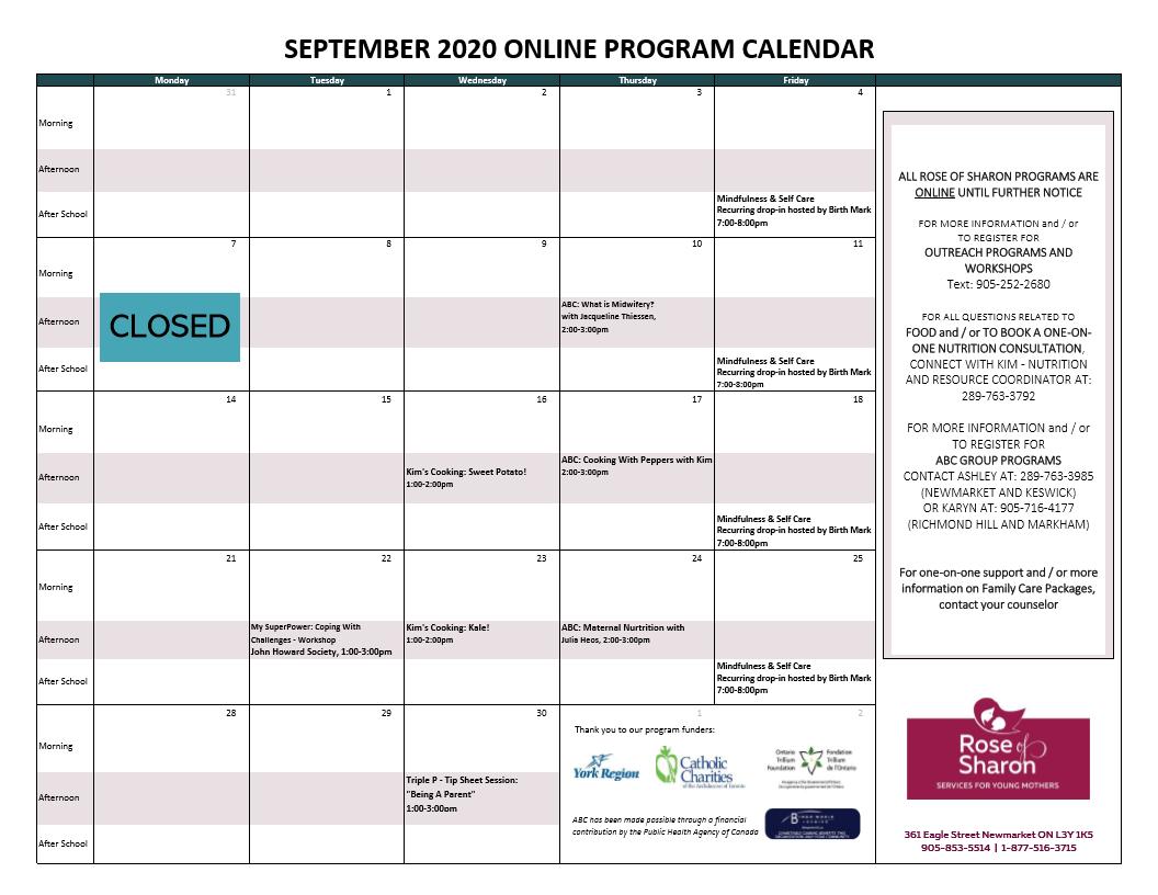 September 2020 Online Program Calendar